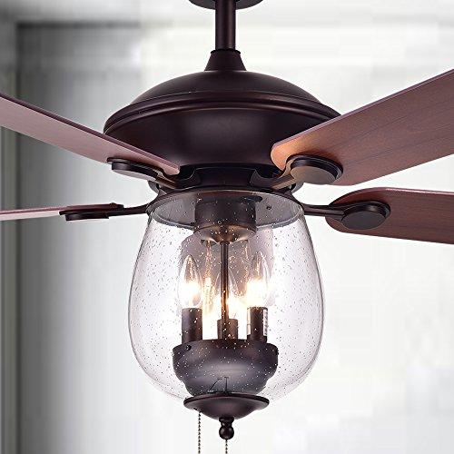 Warehouse of Tiffany CFL-8205/ORBX Leonora Wood Glass 52-inch 5-Blade Lighted Ceiling Fan, Brown