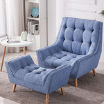 Warmiehomy Modern Linen Fabric Armchair Oversized Fireside Occasional Chair Sofa Lounge with Solid Wood Legs and Footstool for Living Room Bedroom (Blue)