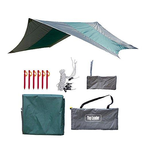 Waterproof Camping Hammock Rain Fly Ultralarge Tent Tarp Cover Lightweight Tear Resistant Portable Hexagonal Tarpaulin Sun Shelter Awning with Pegs and Ropes (green)