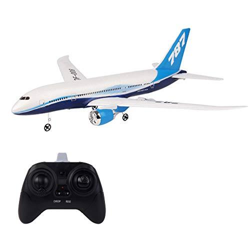 Watopi RC Airplane 2.4G 3CH EPP Flying Toys, Aircraft with 6-Axis Gyro 550mm Wingspan with Light Bar DIY RC Airplane RTF Remote Control for Beginners Kids Gifts (Black)