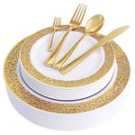 WDF 150PCS Gold Plastic Plates with Disposable Plastic Silverware,Premium Heavyweight Place Setting Include 25 Dinner Plates,25 Salad Plates,25 Forks, 25 Knives, 25 Spoons/Bonus 25 Mini Forks (Gold)