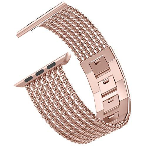 Wearlizer for Apple Watch Strap 38mm 40mm 42mm 44mm, Stainless Steel Metal Mesh iWatch Straps Replacement Band Bracelet Wristband Compatible with iWatch Series 4/3 / 2/1 - Gold 38mm 40mm