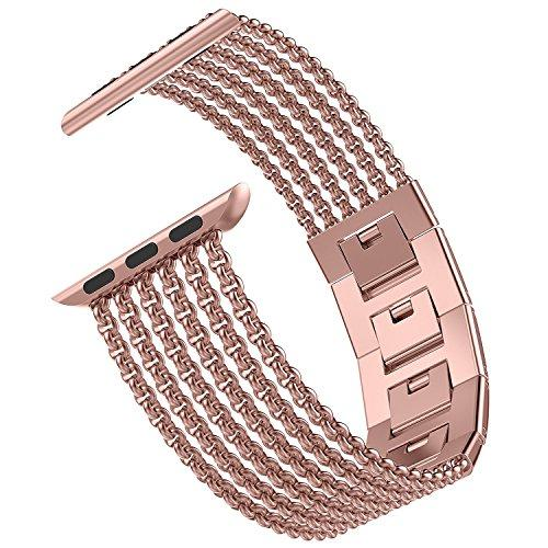 Wearlizer for Apple Watch Strap 38mm 40mm 42mm 44mm, Stainless Steel Metal Mesh iWatch Straps Replacement Band Bracelet Wristband Compatible with iWatch Series 4/3 / 2/1 - Rose Gold 38mm 40mm