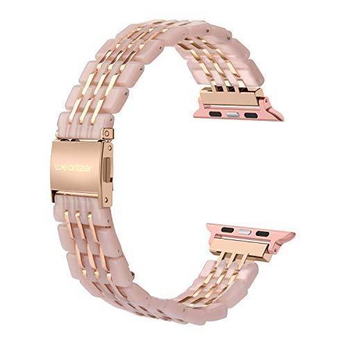 Wearlizer for Apple Watch Strap 42mm 44mm, Stainless Steel Resin iWatch Straps Replacement Band Wristband for iWatch Series 4 Series 3 Series 2&1 - Pearl