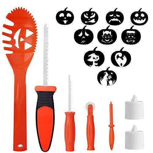 WEBSUN Halloween Pumpkin Carving Tools for Kids Pumpkin Carving Kits Family Halloween Activity DIY Pumpkin Lanttern Decoration Pumpkin Caving Set -Including 5 Carving Tools, 2 LED candles lights and 10 Carving Templates