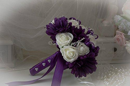Wedding Flowers Brides Bouquet in Purple and Ivory with Roses & Gerberas