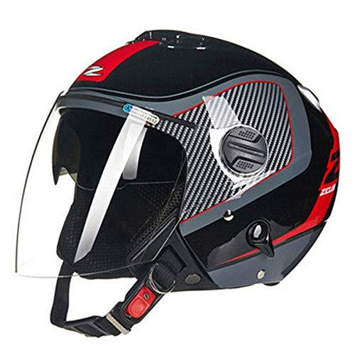 WEDEHANGE Motorcycle Helmet, Adult Open-face Helmet Unisex Double Goggles Half-covered Helmet Safety Breathable Lightweight Men Women,B-XXXL