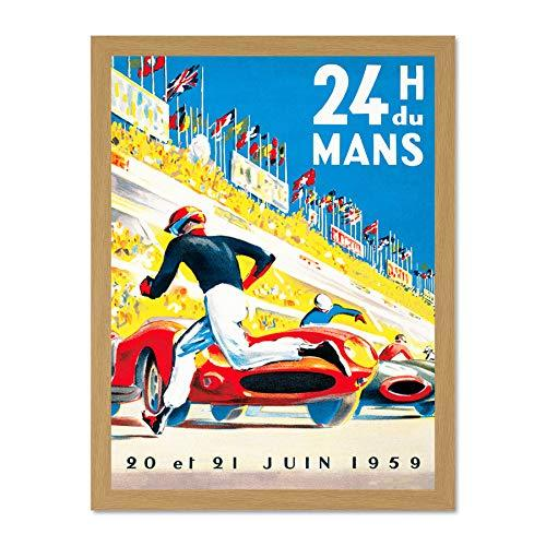 Wee Blue Coo Sport Advert Le Mans 24 Hours Motor Race France Art Large Framed Art Print Poster Wall Decor 18x24 inch