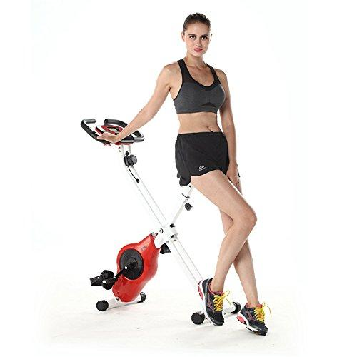 Weentop Indoor Cycling Exercise Bike X-type Indoor Spinning Bicycle Foldable Magnetic Control Indoor Office Exercise Bike ideal Cardio Trainer (Color : Red)