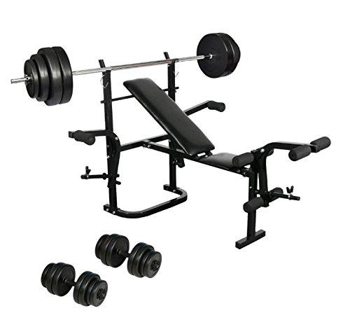 WeightBench Adjustable Folding - Comes Complete With A Barbell And A Pair Of Dumbbells - Mult-functional For Different Muscles