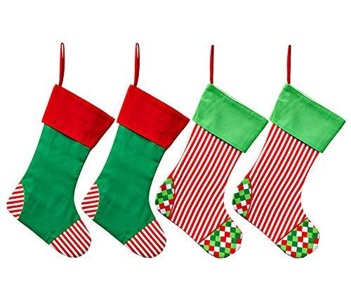 Family Christmas Stockings.Weivan Set Of 4 Family Christmas Stockings Holiday Stocking Cotton Canvas Red And Green Stripe With Plaid Large Christmas Decorations