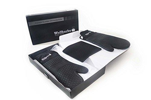 Wellbacks Bake Safe One pair of Premium Quality Professional Silicone oven gloves and Free Trivet Mat set.