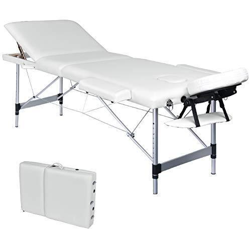 Wellhome Portable 3 Section Aluminium Massage Table Lightweight Adjustable Height Professional Folding Massage Bed Beauty Spa Treatment Couch, Free Headrest, Armrest, 600D Carry Bag(White)