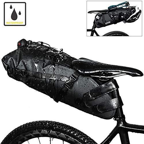 WenBike Bicycle Saddle Bag 10L Waterproof Big Capacity Seat Tail Pouch Mountain Road Cycling Rear Rack Pack Luggage Pannier for Cycling Accessory(Black)