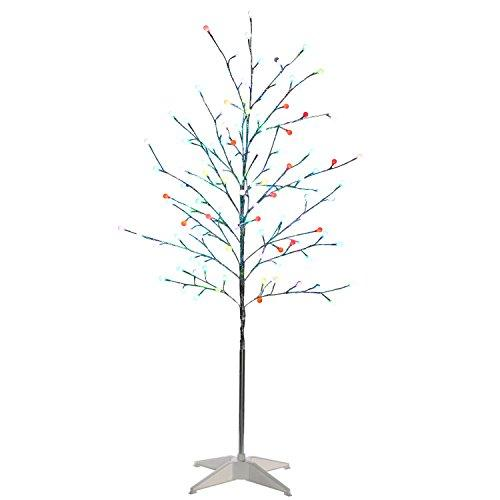 WeRChristmas 5 ft Pre-Lit Colour Changing 124-LED Twig Tree with Frosted Balls Suitable for Indoor and Outdoor
