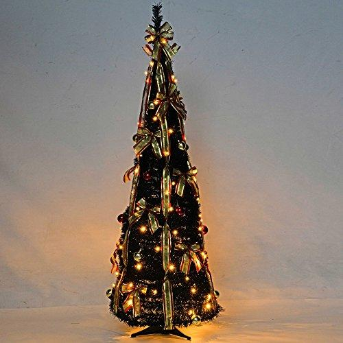 werchristmas 5 ft pre lit pop up christmas tree with ribbon and bauble decorations - Pre Decorated Pop Up Christmas Trees
