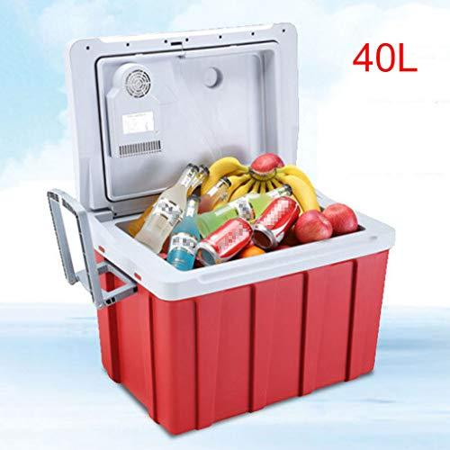 WERT 40 Litre Car Refrigerator Portable For Travel Camping Cool Box Electric Freezer Cooler And Warmer With Automatic Locking Handle,Red