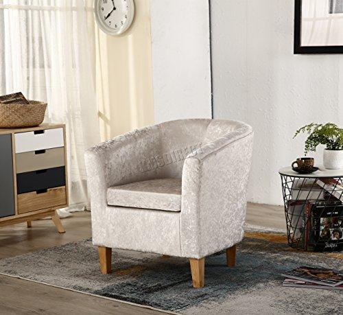WestWood Modern Crush Velvet Fabric Tub Chair Armchair Lounge Dining Living Office Room Home Furniture TC12 Cream