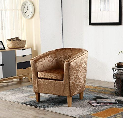 WestWood Modern Crush Velvet Fabric Tub Chair Armchair Lounge Dining Living Office Room Home Furniture TC12 Gold New