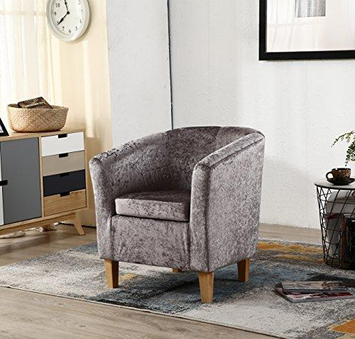 WestWood Modern Crush Velvet Fabric Tub Chair Armchair Lounge Dining Living Office Room Home Furniture TC12 Grey