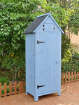 WestWood Wooden Sentry Box Beach Hut Shed Outdoor Garden Storage Cupboard Tool Unit Cabinet Shelves WBH01 Blue