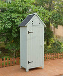 WestWood Wooden Sentry Box Beach Hut Shed Outdoor Garden Storage Cupboard Tool Unit Cabinet Shelves WBH01 Green