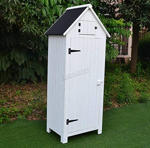 WestWood Wooden Sentry Box Beach Hut Shed Outdoor Garden Storage Cupboard Tool Unit Cabinet Shelves WBH01 White