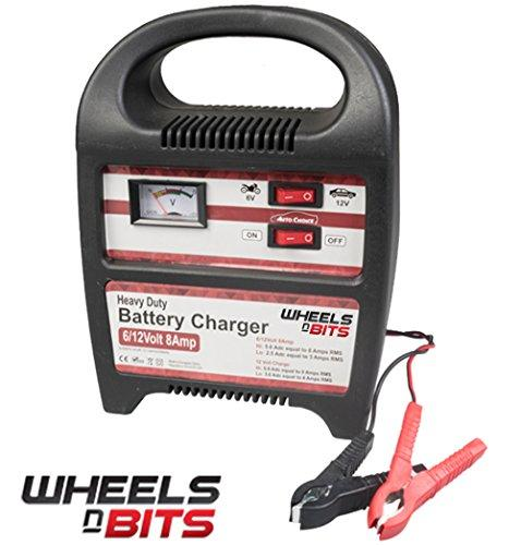 Wheels N Bits 8AMP 6 or 12 V Volt Heavy Duty Vehicle Battery Charger Car Van Motor Bike Quads Lawn movers