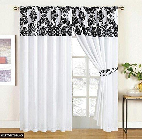 "White Black Curtains Royal Damask Curtains Pencil Pleat Faux Silk Curtains 90x90"" (W168cm x L230cm) + tiebacks"