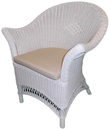 White Wicker Chair with Beige Seat Pad