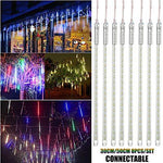 WHITNEY 8Pcs/Set LED Meteor Shower Rain Lights Waterproof Xmas Decoration Light Falling String Lights For Wedding Party Christmas Lights,Blue-2SETS/50cm