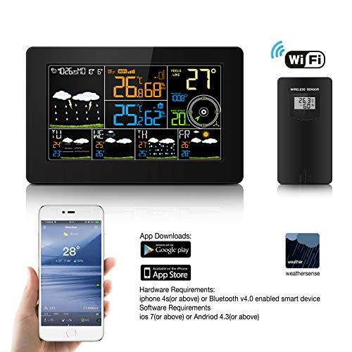 Wi-Fi Wireless Internet Weather Station with Indoor Outdoor Sensor, Digital Alarm Clocks, Temperature Humidity Gauge, Forecast Weather Station