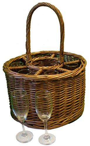 Wicker 6 Glass Celebration Basket with Champagne Flutes