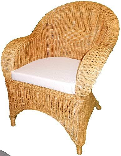 Wicker Armchair Candy Brown with Beige Seat Pad