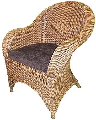 Wicker Chair - 2-Tone 'Antique' Colour with Brown Seat Pad