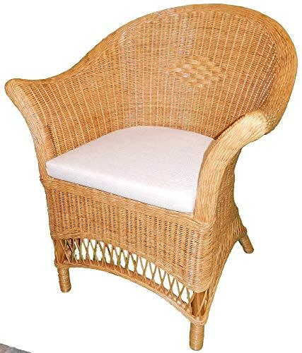 Wicker Chair Candy Brown with Beige Seat Pad