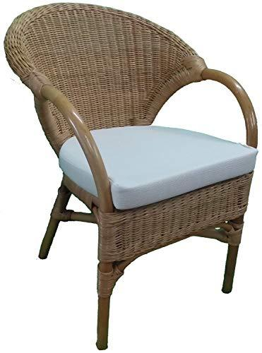 Wicker Chair Candy Brown with Seat Pad