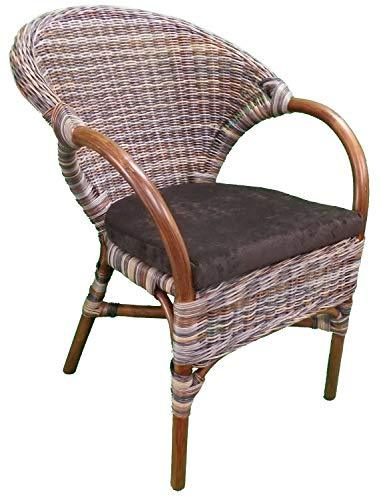 Wicker Chair Mixed Colour with Seat Pad