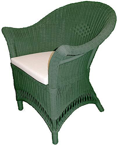 Wicker Chair - Sage Colour with Beige Seat Pad