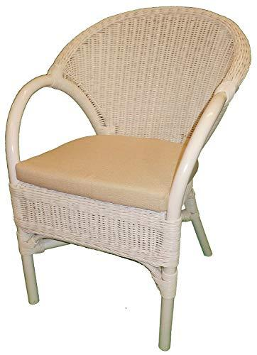 Wicker Chair White Painted with Seat Pad