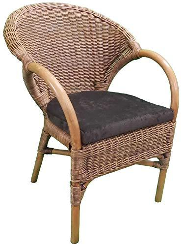 Wicker Chair with Seat Pad - 2-Tone 'Antique' Colour