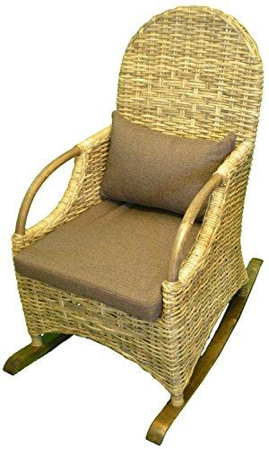 Wicker Rocking Chair with Cushions - Grey Rattan