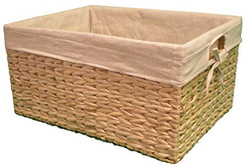 Wicker Storage Basket Water Hyacinth Rectangular Lined- Medium