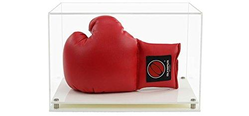 Widdowsons Display Cases Horizontal Boxing Glove Display Case with a Modern White Base, Acrylic, 35.8 x 25.8 x 23.3 cm