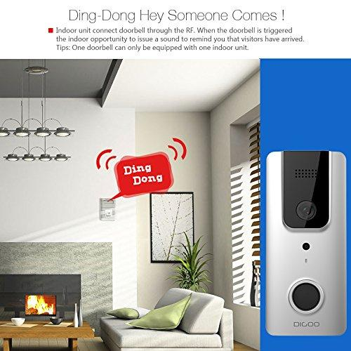 Wifi Video Doorbell, DIGOO SB-XYA 5 in 1 Ring Video Doorbell with Pir  Motion Detection, HD 1080P Camera Image, Night Vision, Two-Way Talk, Phone  Ring,