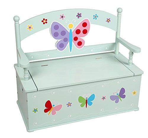 Wildkin Olive Kids Butterfly Garden Toy Box Bench
