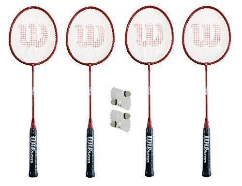Wilson 4 x Hyper Red Badminton Rackets + 4 Shuttles + Covers