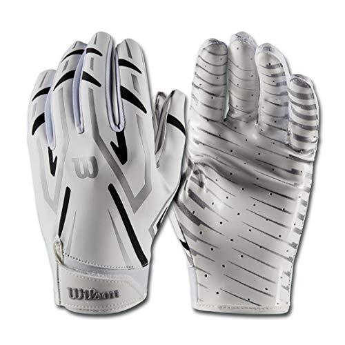 Wilson Clutch American Football Receiver Gloves (White, L)
