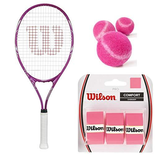 "Wilson Triumph Pre-Strung Tennis Racquet (4 1/4"" Grip) Starter Kit or Set for Beginner Girls or Women Bundled with 3 Pink Tennis Balls and (1) 3-Pack of Pink Overgrips"