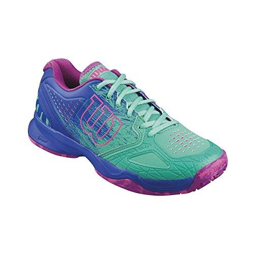 Wilson Women's KAOS COMP W Tennis Shoes, Multicolor - Mehrfarbig (AQUAGREEN/BLUE IRIS WIL/FANDANGO PINK), 4.5 UK